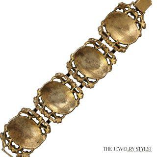 1950s Vintage Austro-Hungarian Style Green Enamel Link Bracelet Back View