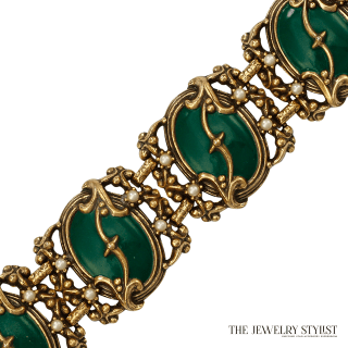 1950s Vintage Austro-Hungarian Style Green Enamel Link Bracelet