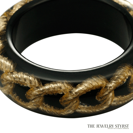 Vintage Italian Hard Resin Bangle Bracelet with Embedded Chain