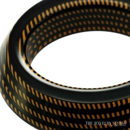 Chunky Italian Black & Orange Hard Resin Bangle