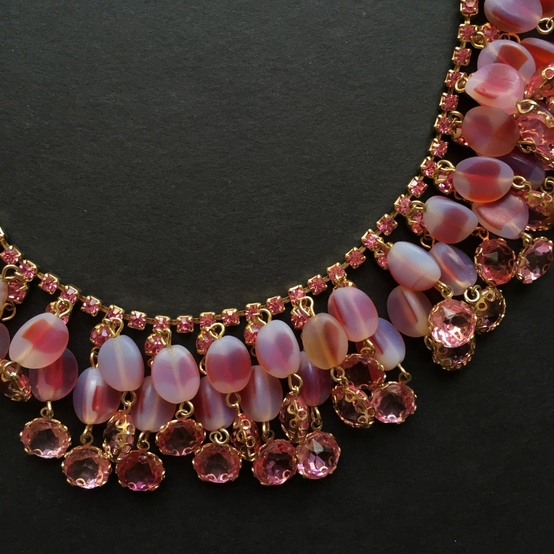 Exquisite Alice Caviness Pink Givre Rhinestone Choker Necklace
