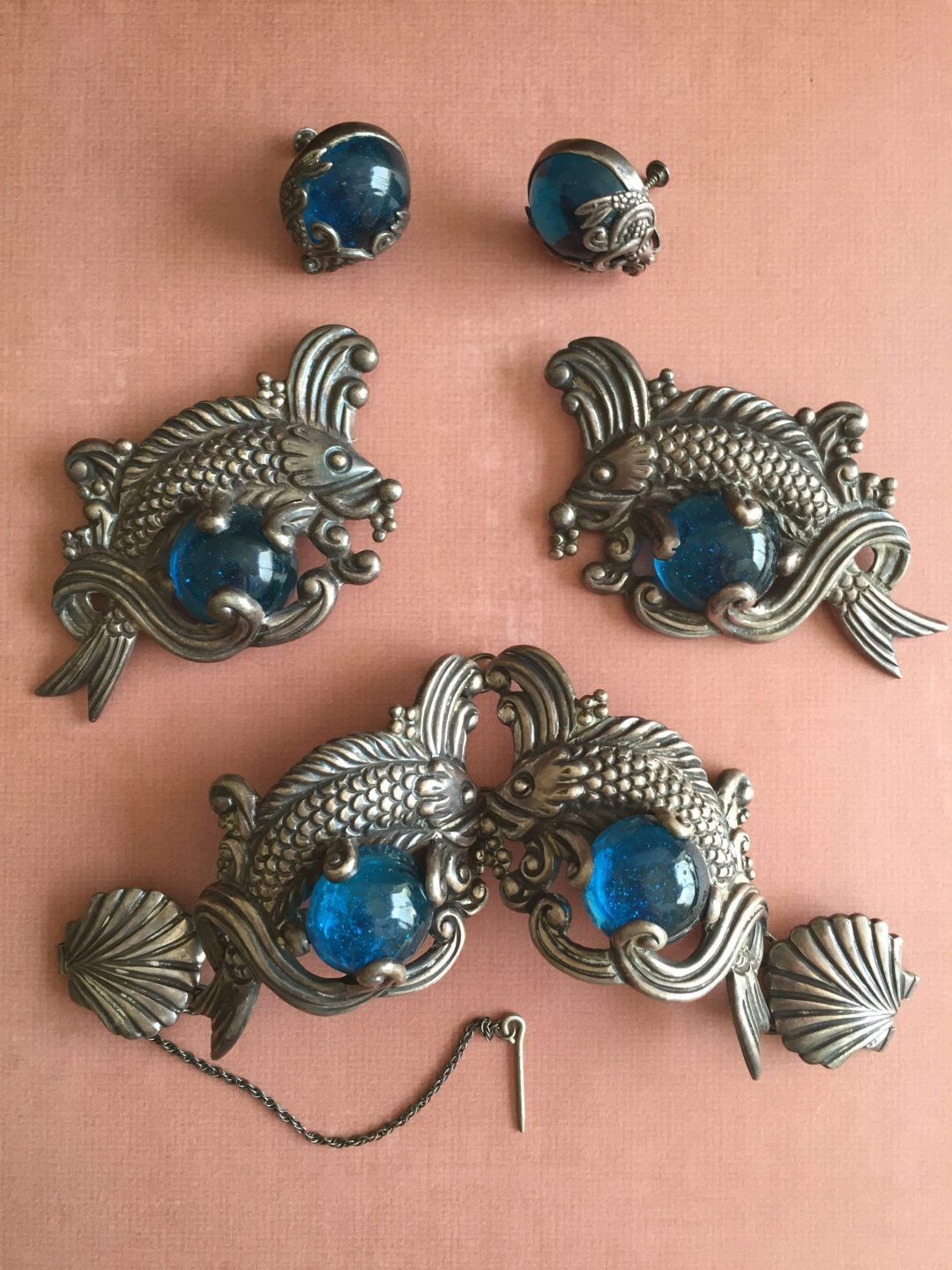 Outstanding Vintage and Rare Los Castillo Sail Fish 4 Piece Set Signed