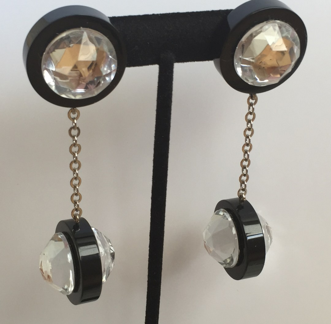 Dramatic Judith Hendler Black Acrylic and Crystal Drop Earrings