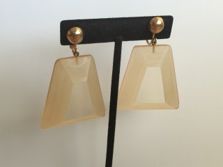 Early Rare Judith Hendler Trapezoidal Hand-Dyed Pendant Earrings