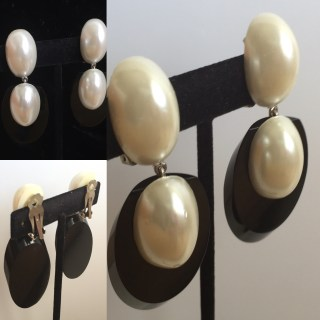 Judith Hendler Faux Pearl Black Acrylic Earrings
