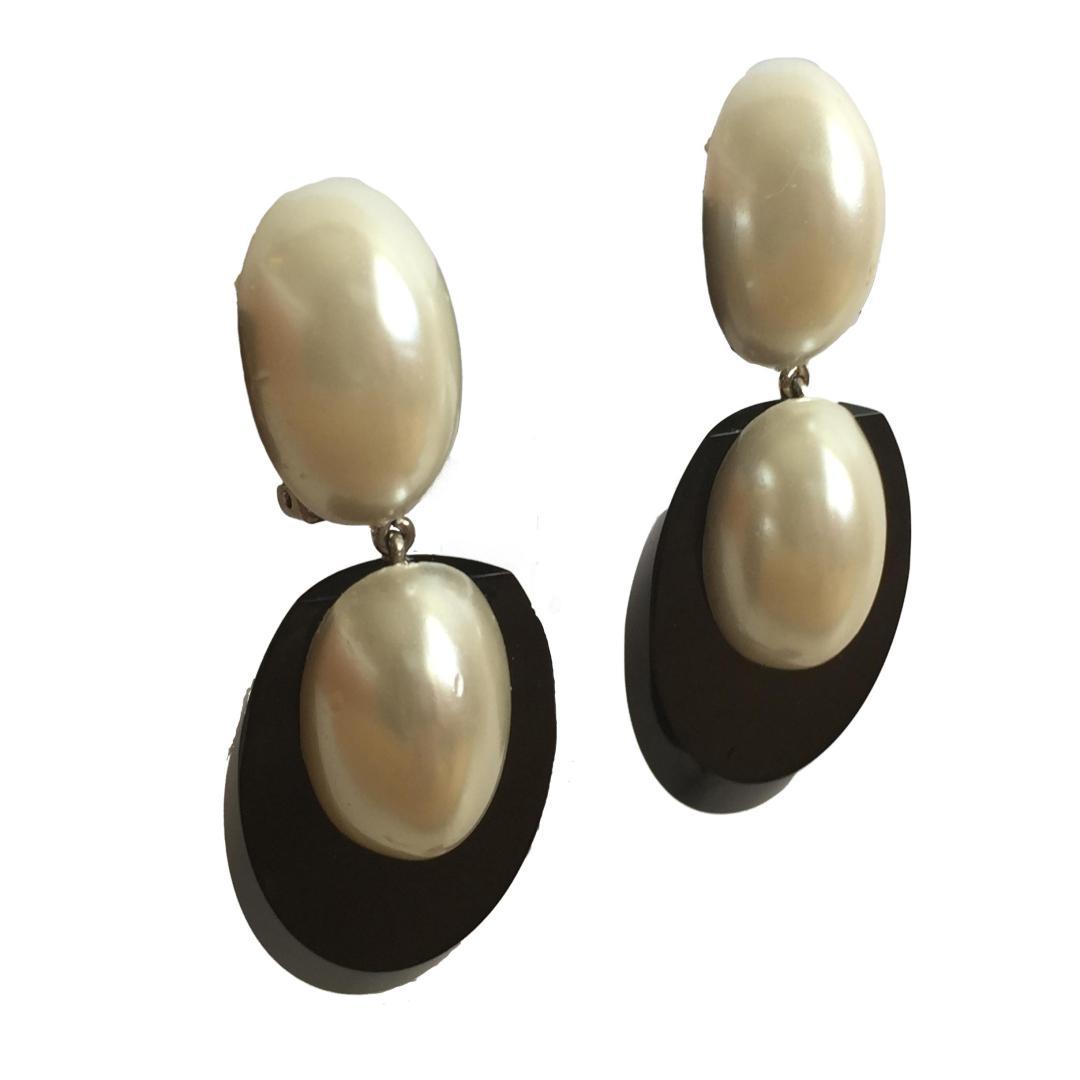 Judith Hendler Faux Pearl Acrylic Earrings