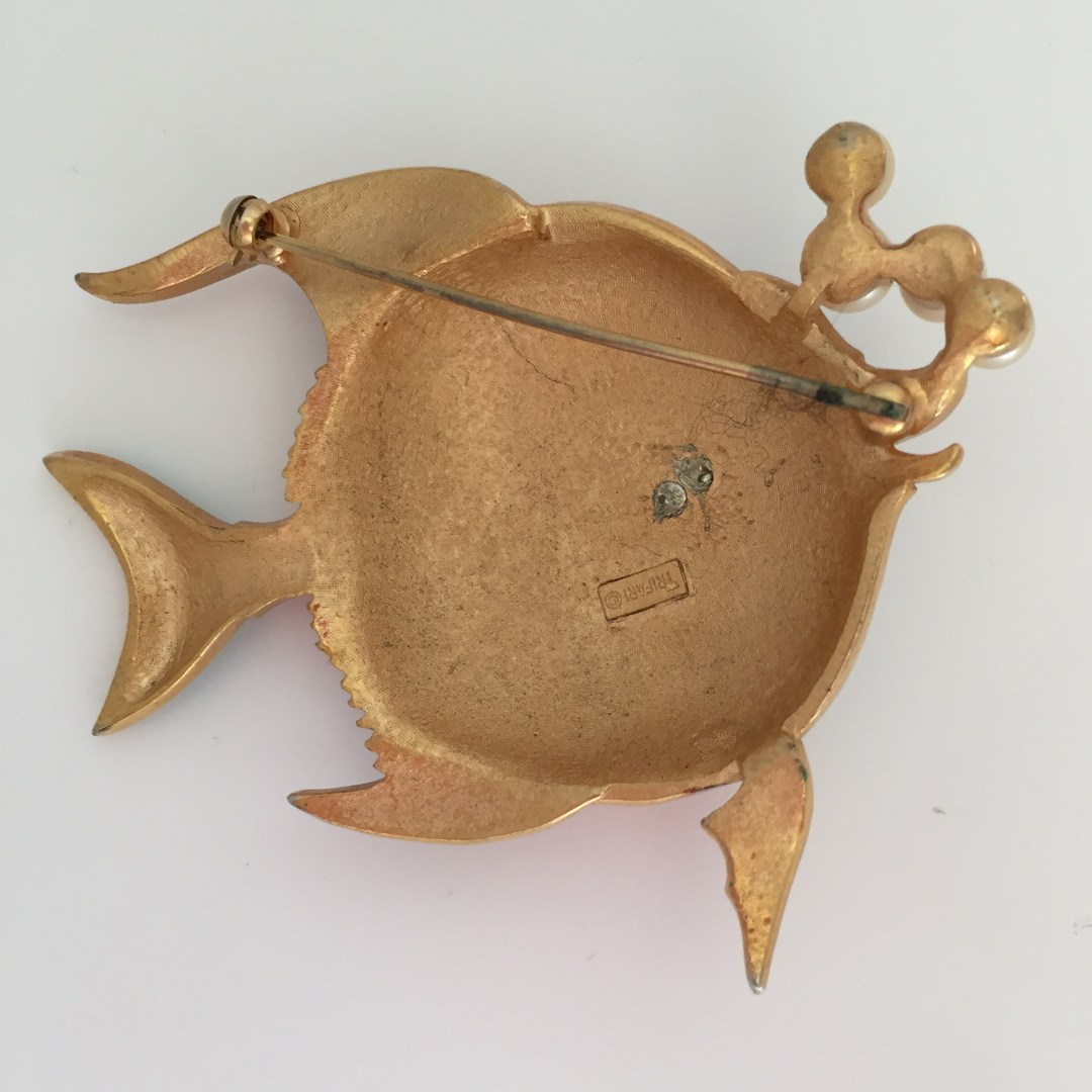 Back of Trifari Enamel Angelfish Pin with Manufacturers Mark Trifari ©