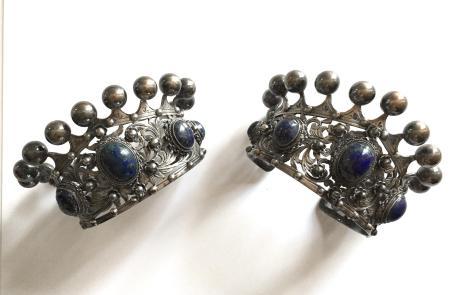 Vintage Peruzzi Italian 800 Silver Crown Motif Cuffs, Brooch and Earring Set