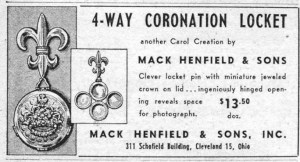 Mack Henfield and Sons 4-Way Coronation Locket 19530417 WWD