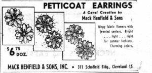 Mack Henfield and Sons Petticoat Earrings WWD 19530522