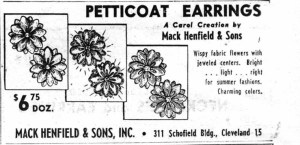 Mack Henfield and Sons Petticoat Earrings WWD 19530522