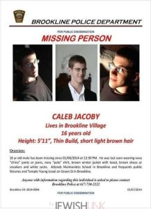 This is the missing-person flier being distributed by Brookline police, who continue to search for 16-year-old Caleb Jacoby, the son of Boston Globe columnist Jeff Jacoby. (Brookline Police Department)