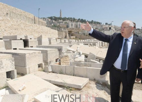 Photo credit: Mark Nyman Description: President Reuven Rivlin at the Mount of Olives Cemetery