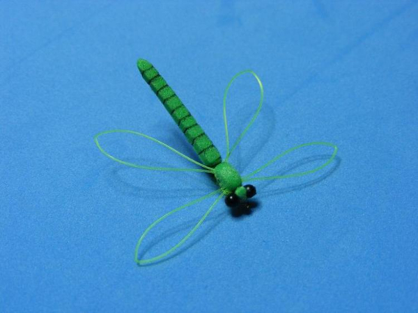 Foam Dragon fly black sharpie marker smallie smouthmouth bass fly tyer guy