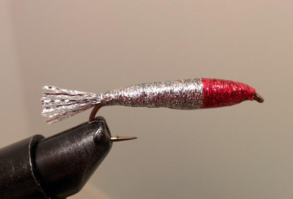 red head silver body mackerel fly tying