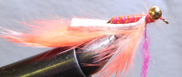 fly-fishing-hook-lead-free-wire-brass-barbell-eyes-pink-thread-gold-tinsel-flash-clear-nail-polish-orange-rabbit-zonker-pink-seal-fur-dubbing-tie-in
