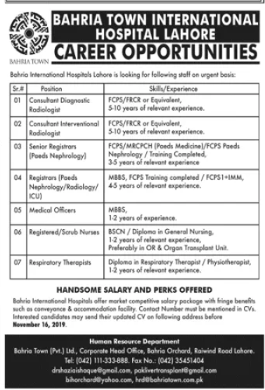 Bahria International Hospital Jobs