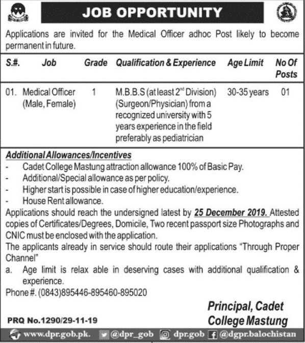 Cadet College Mastung Jobs. 2019