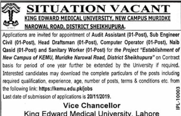 KEMU Latest Jobs 2019