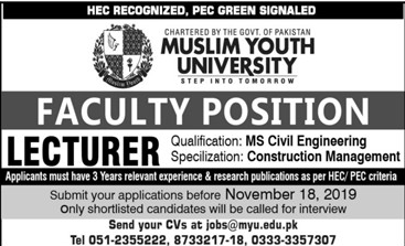 Muslim youth university Jobs