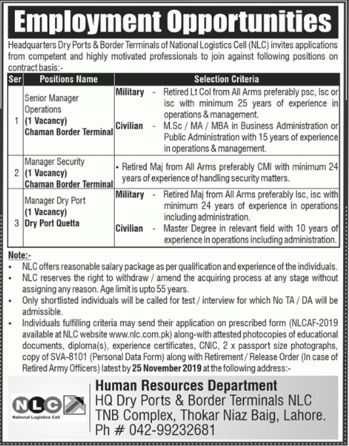 Dry Ports and Border Terminals of NLC Jobs