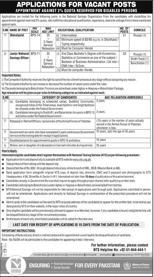 National Savings Organization Jobs