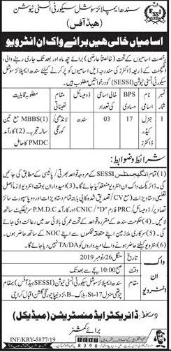 Sindh Employees Institution Jobs 2019