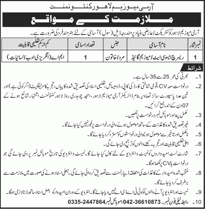 Army Museum Lahore Jobs 2019