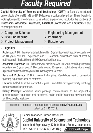 Capital University of Science and Technology Jobs 2019