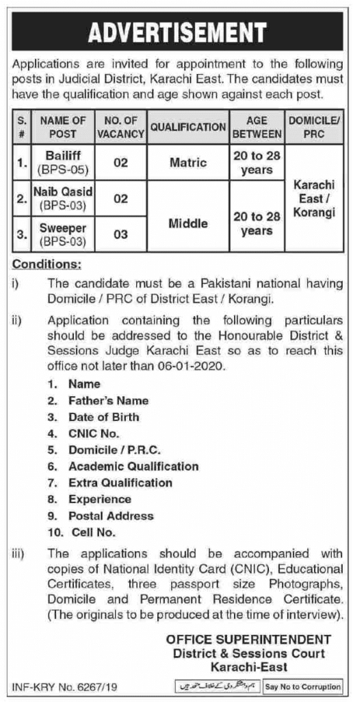 District and Session Court Karachi Jobs 2020