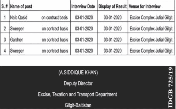 Excise Taxation and Transport Department Jobs 2019