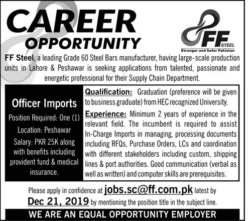 FF Steel Pakistan jobs 2019