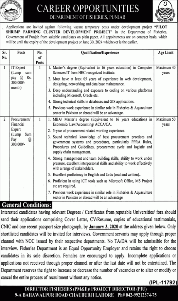 Fisheries Department Punjab Jobs 2019