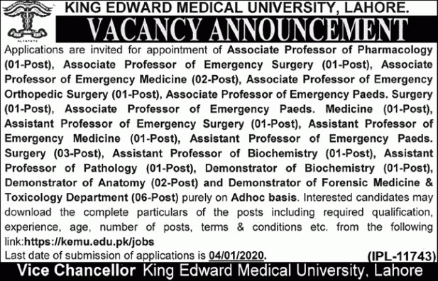 How to Apply for King Edward Medical University jobs 2019
