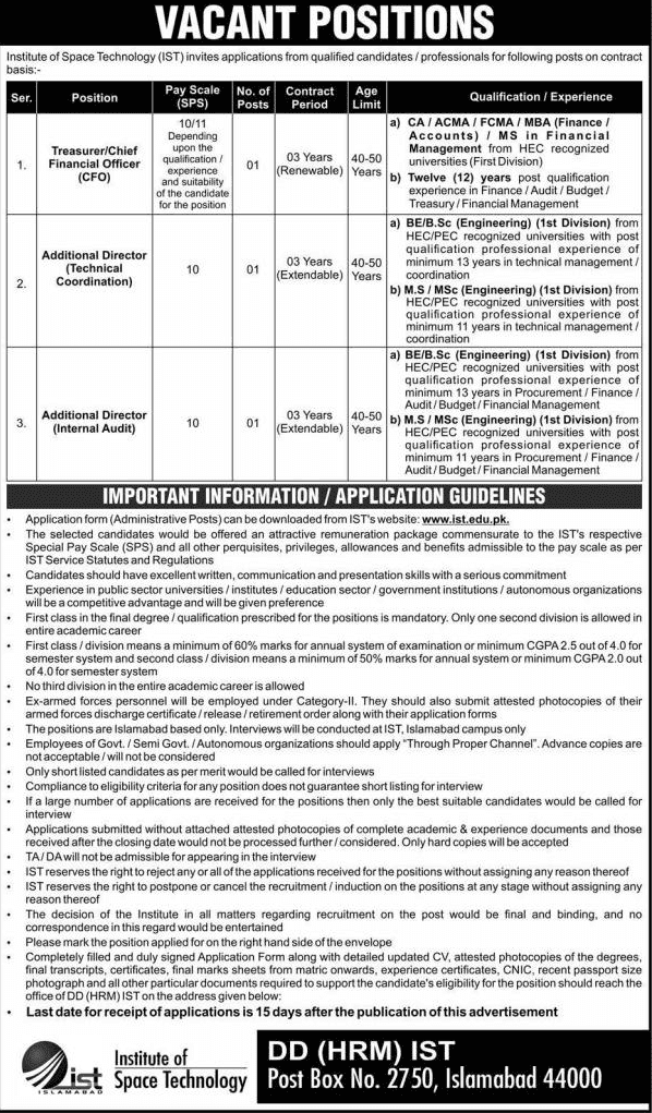 Institute of Space Technology Jobs 2019