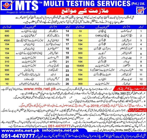 MTS Testing Services Jobs 2019