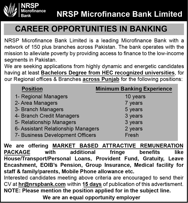 NRSP Microfinance Bank Jobs 2019