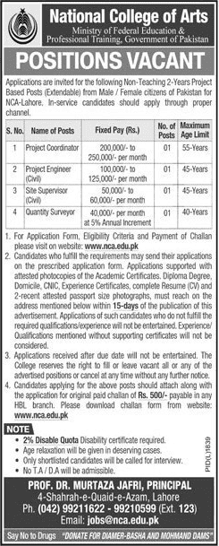 National College of Arts Jobs 2019