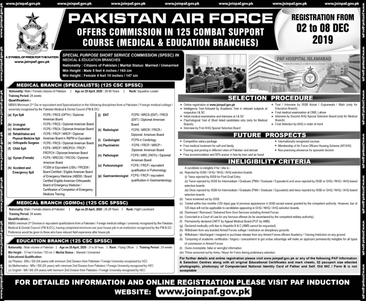 PAF Commission Jobs 2019