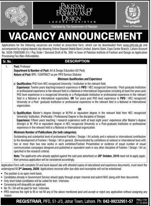 Pakistan Institute of Fashion and Design Jobs 2019