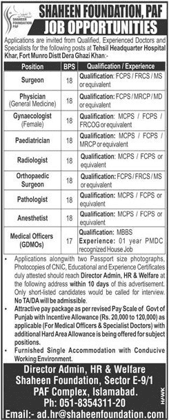Shaheen Foundation PAF jobs 2019