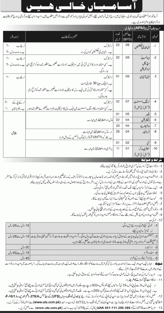 Armed Forces Institute of Urology Jobs 2020