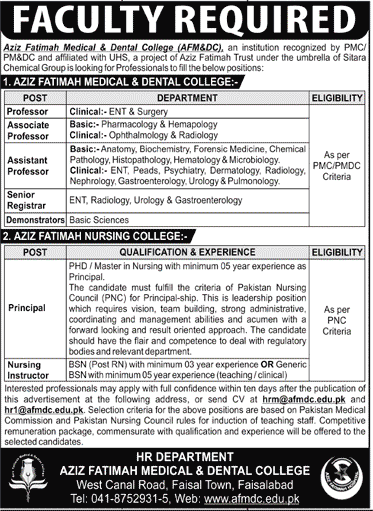 Aziz Fatimah Medical Dental College Jobs 2020