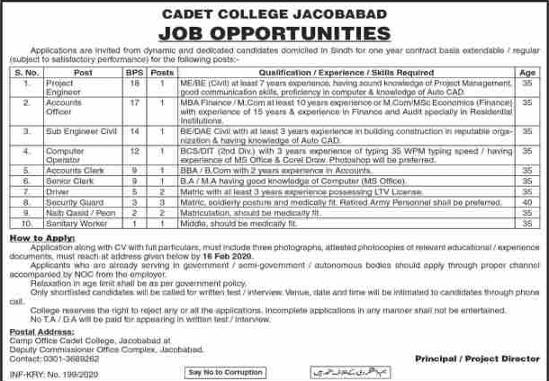 Cadet College Jacobabad Jobs 2020