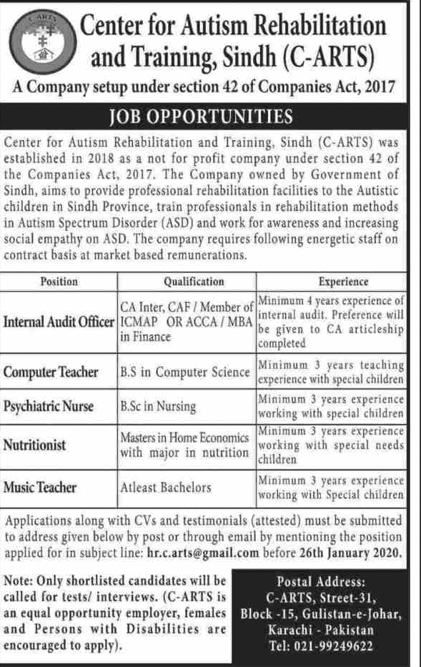 Center for Autism Rehabilitation and Training Sindh Jobs 2020