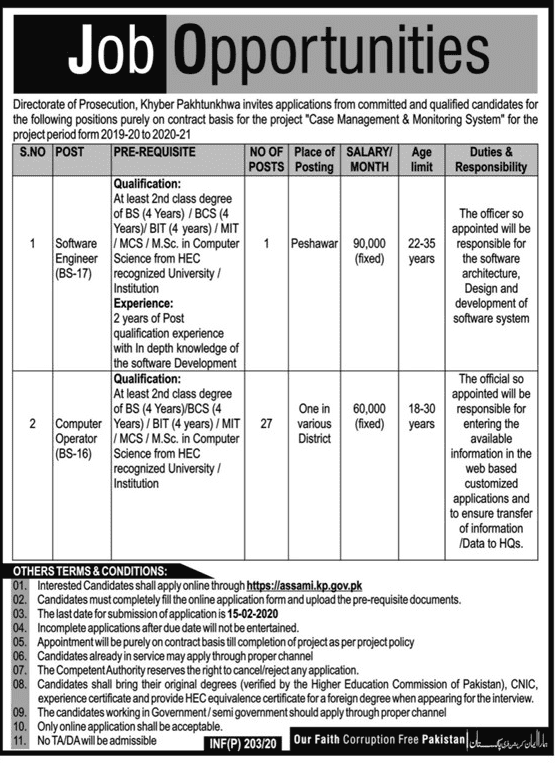 Directorate of Prosecution KPK Jobs 2020