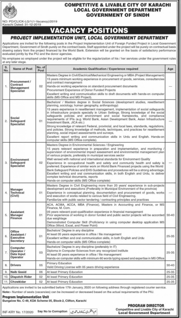 Local Government Department Sindh Jobs 2020