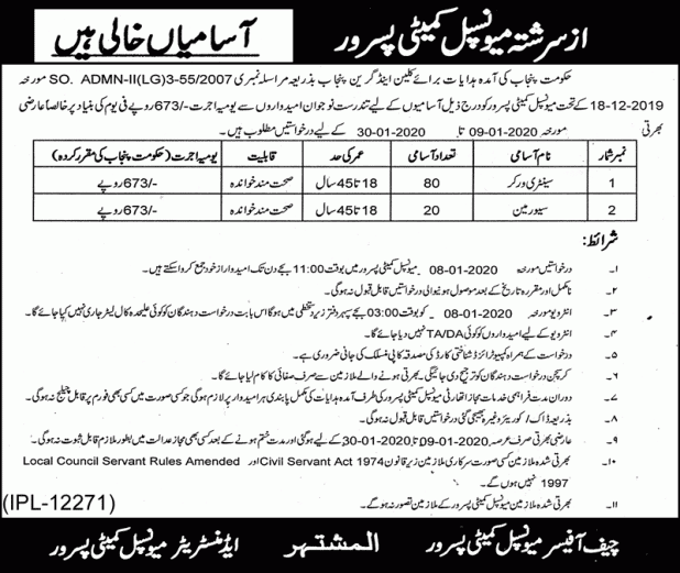 Municipal Committee Pasrur Jobs 2020