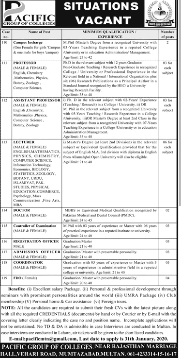 Pacific Group of Colleges Jobs 2020