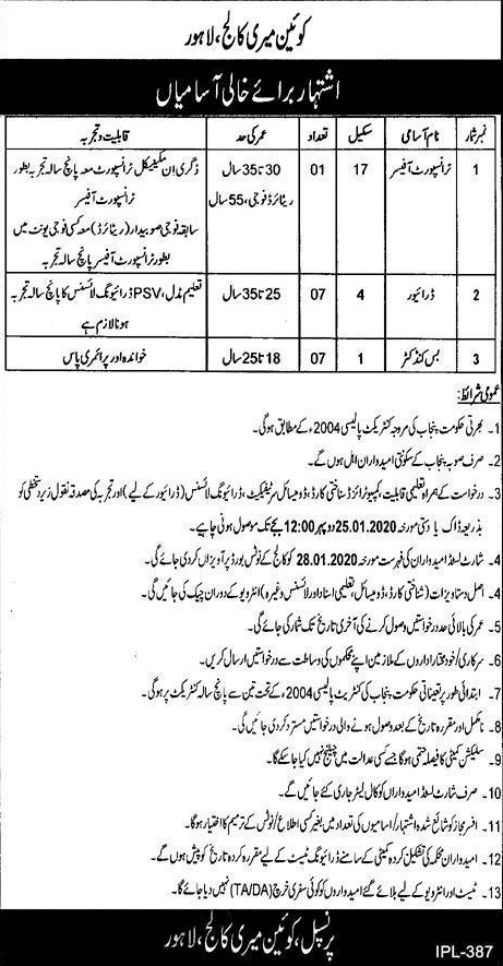 Queen Mary College Lahore Jobs 2020